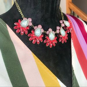 Red/Pink/White Jewel Bib Necklace